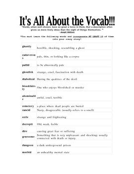 Vocabulary list to use in scary stories by ELA Ms. P | TpT