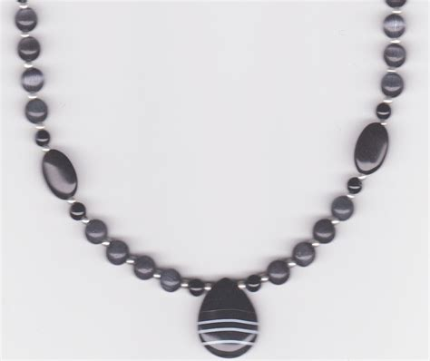 beaded necklace handmade jewelry beaded necklace onyx jewelry onyx teardrop