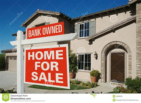 bank owned home for sale sign royalty free stock photo