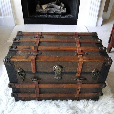 reserved for eric large antique steamer trunk coffee table