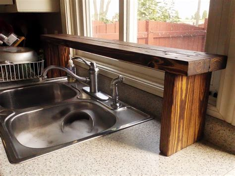 kitchen sink shelves pallet wood the sink window shelf kitchen update 5