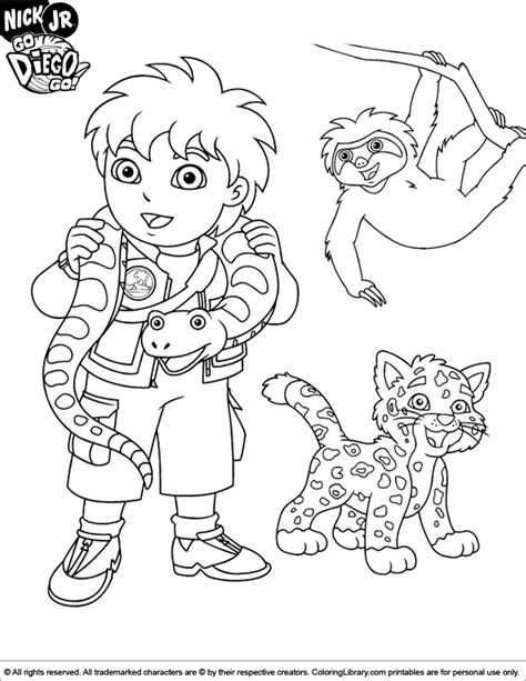 diego coloring pages to print go diego go coloring page az coloring pages