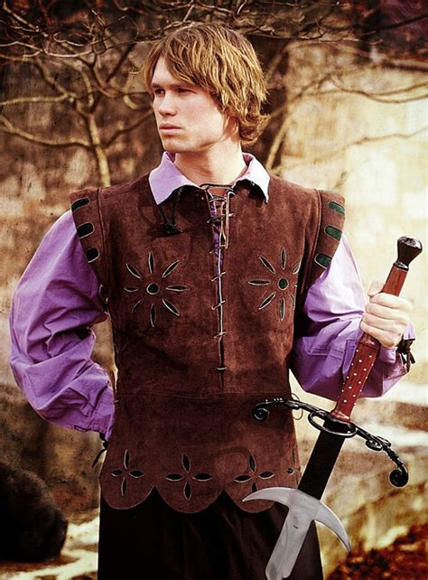 costume brown leather doublet  green accents