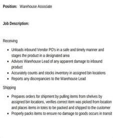 warehouse associate description sle 8 exles