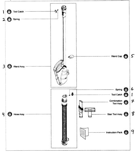 dc25 parts diagram accesories diagram parts list for model dc25 dyson inc