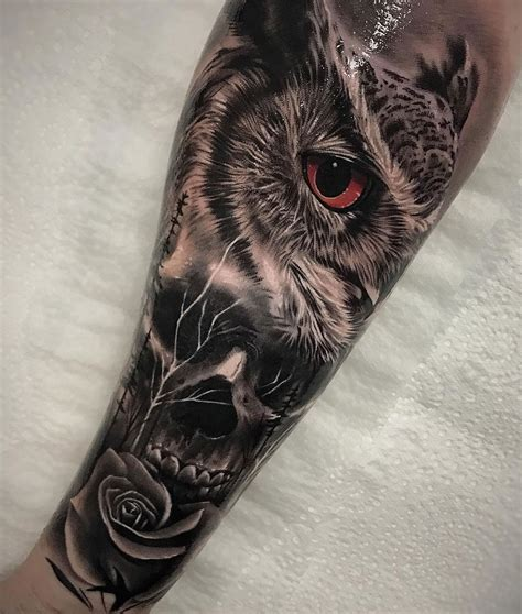 owl rose tattoo owl skull morph best design ideas