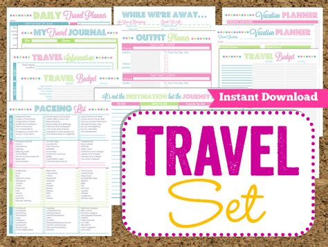 printable vacation planners instant download travel printables vacation planner 14 pdf