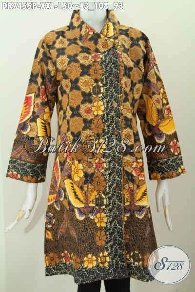 Baju Batik Cantik Elegan baju dress elegan dan istimewa busana batik wanita gemuk motif bagus proses printing desain