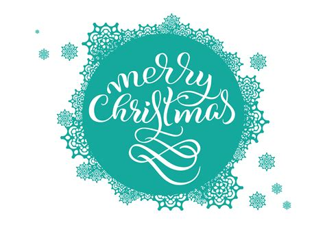 turquoise  background  snowflakes  white   text merry christmas vector
