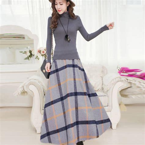 Big Skirt winter skirt vintage thick plaid wool skirts high waist big swing fashion maxi skirt