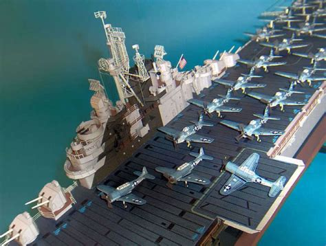 How To Make A Paper Aircraft Carrier - 103 detail version uss essex cv 9 aircraft carrier paper