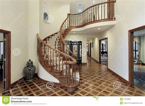 circular entryway large foyer with circular staircase royalty free stock