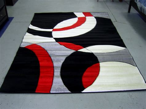 red accent rugs modern red black white pile cut design 5x8 area rug carpet