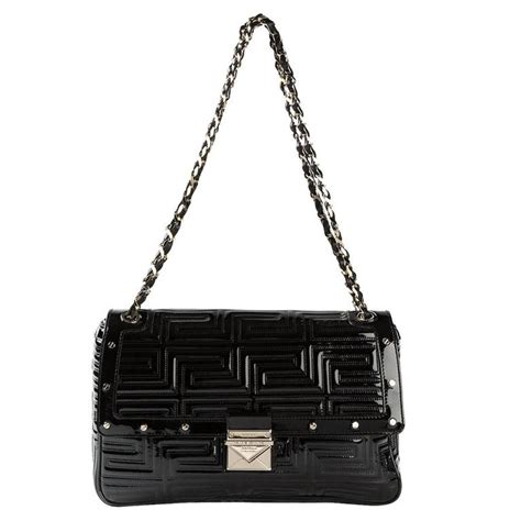 Couture Leather Shoulder Bag by Gianni Versace Couture Black Patent Quilted Leather