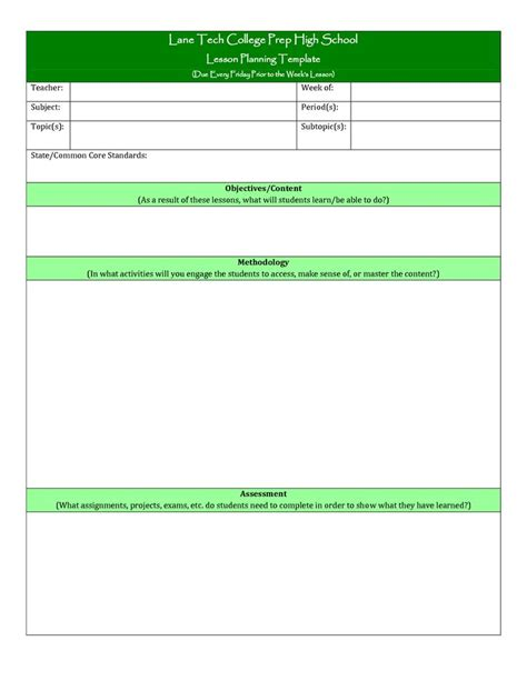 teachers college lesson plan template plan template