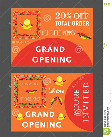 Grand Opening Card Template by Mexican Restaurant Template Stock Vector Image 74567905