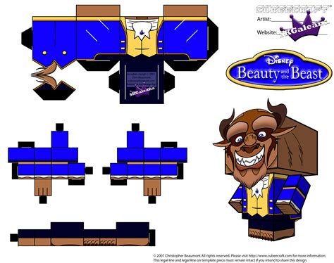 Disney Papercrafts - cubeecraft of beast from disney s and the beast