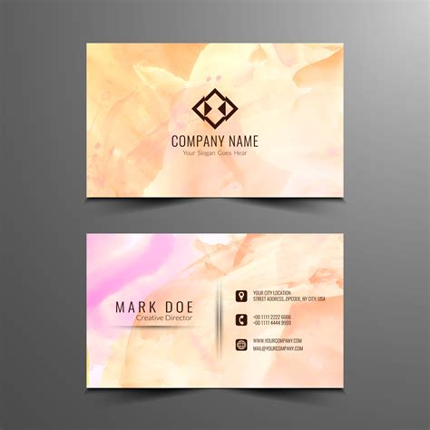 abstract watercolor business card design template