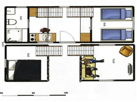 small house trailer floor plans 8x24 portable tiny house on trailer total of 336 sq ft of