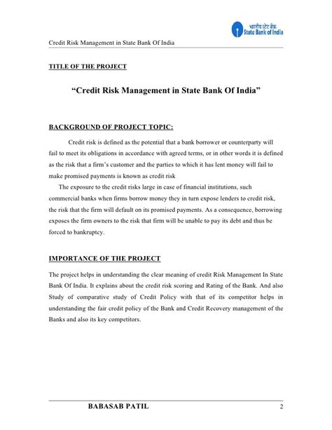 Mba Project Report On State Bank Of India by Credit Risk Management State Bank Of India Project