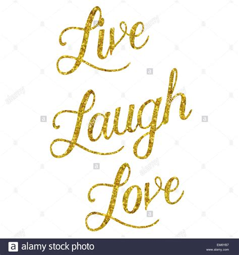 live laugh glittery gold faux foil metallic inspirational live laugh