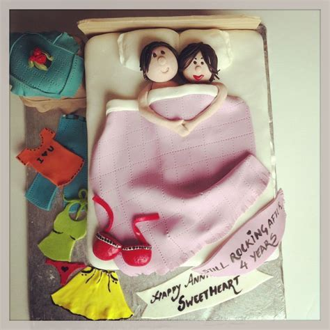 Couple in a bed anniversary cake ..   My work   Pinterest