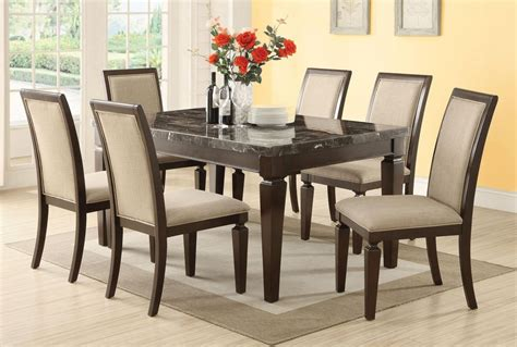 espresso dining room set acme agatha 7pc black marble top rectangular dining room