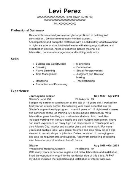 Apprentice Glazier Resume by Best Journeyman Glazier Resumes Resumehelp