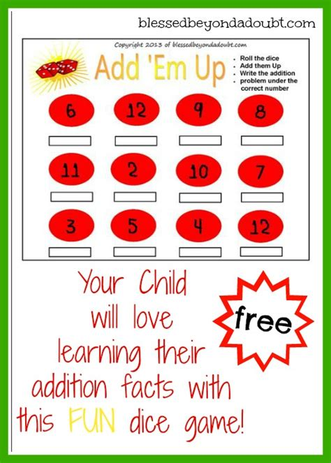 printable addition dice games free addition dice game