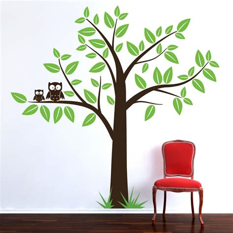 Large Tree With Owls Wall Art Sticker Decal Nursery Baby Large Nursery Wall Decals