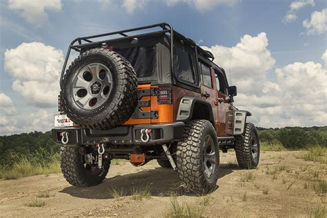 rugged ridge road rugged ridge spartacus overrider bumper set with winch plate tire carrier spartan grille for