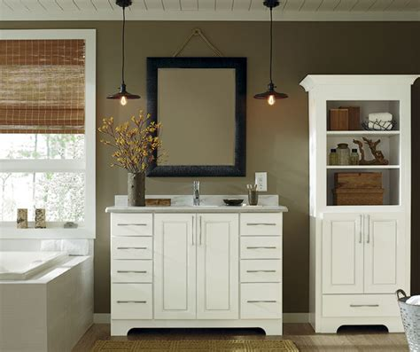 white bathroom vanity and storage cabinet schrock