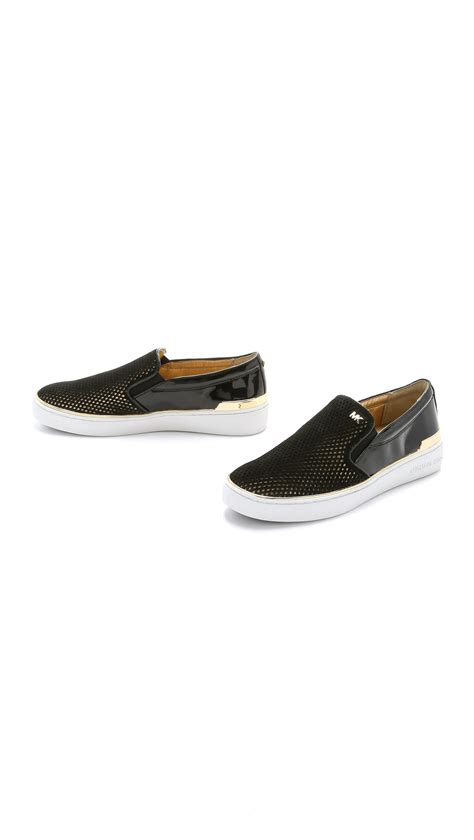 michael kors slip on sneakers michael michael kors phoebe slip on sneakers black gold