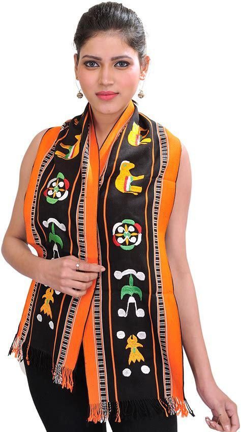 Sarung Tenun Motif Ahd Orange black and orange scarf from nagaland with embroidered auspicious motifs