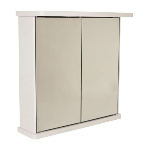 bathroom wall mirror cabinet white door illuminated
