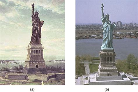 original color of the statue of liberty corrosion chemistry