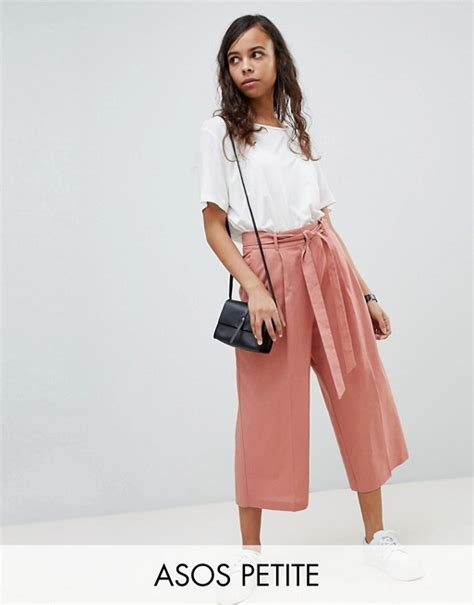 Asos Linen Culotte Trousers asos asos tailored linen culotte with tie
