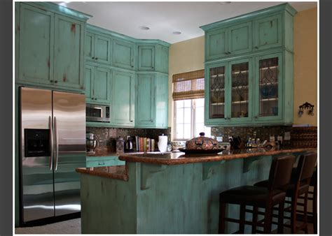 Blue Distressed Kitchen Cabinets distressed kitchen cabinets blue how to paint