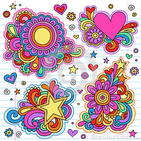 doodle time designs groovy notebook doodle frames vector designs stock photo