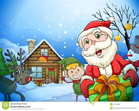 Santa Claus In House by A House A Santa Claus And A Reindeer Stock Photo Image