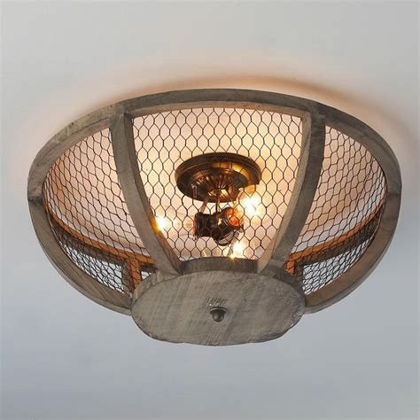 chicken wire basket ceiling light available in 2 colors