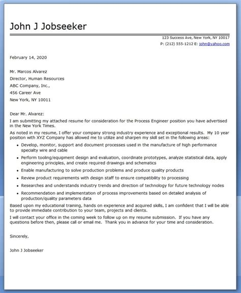 Chemical Process Engineer Cover Letter by Process Engineering Cover Letter Resume Downloads