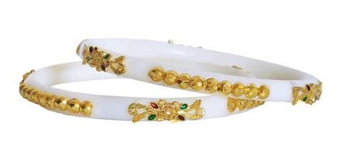 Bonia Ravit Gold Plat White traditional gold plated white bangles