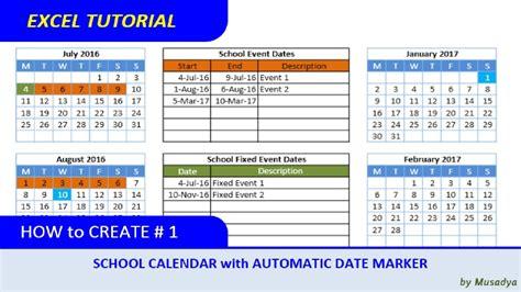 create excel school calendar  automatic date marker youtube