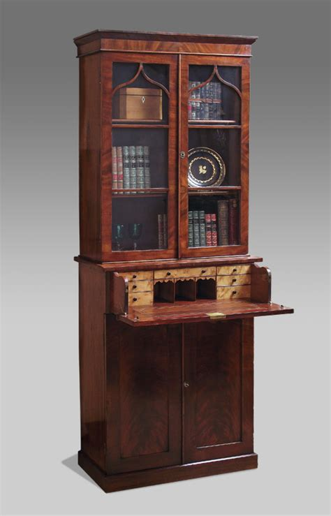 Library Bookcase With Doors Antique Secretaire Bookcase Victorian Secretaire Bookcase