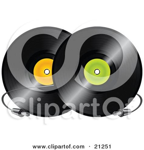 Orange Records Clipart Illustration Of Two Pink And Black Vinyl Records