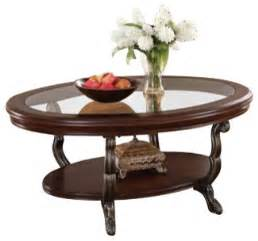Oval Glass And Wood Coffee Table Bavol Cherry Finish Wood Oval Shaped Coffee Table With