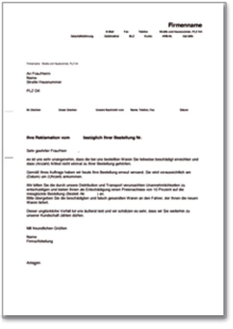 Reklamation Brief Preisnachlass Angebot Nach Reklamation Muster Brief Zum