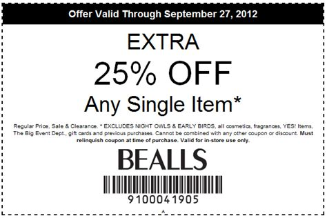 printable coupons bealls outlet bealls 25 off printable coupon