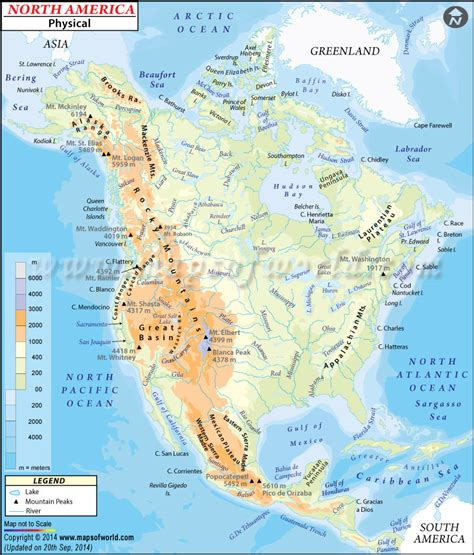 usa and canada physical features map physical map of america american geography